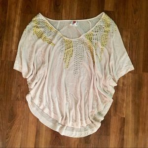 Free People Flowy Studded Batwing Top Size M ✨